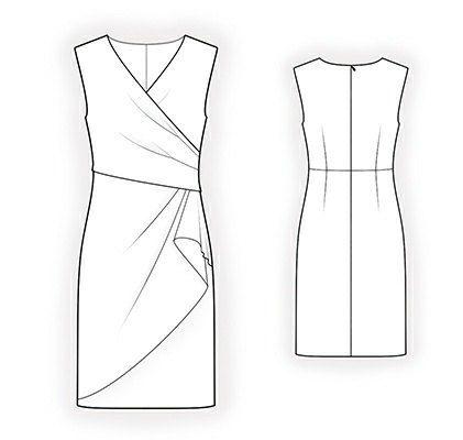 Aangepaste formaat naaien patroon voor een elegante jurk. Maten: dames maten. - - - - - - - - - - - - - - - - - - - - - - - - - - - - - - - - - - - - -