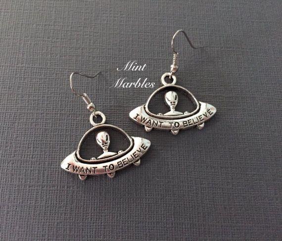 UFO Alien Charm Earrings. Spooky. Outer Space. by MintMarbles