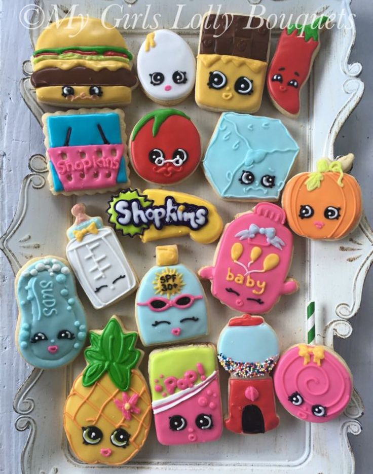 Shopkins Birthday Party Character Sugar Decorated Cookies