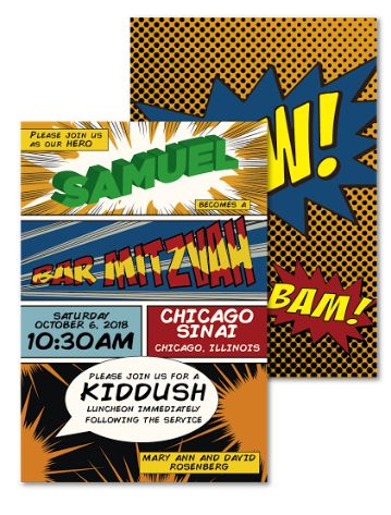 Super Hero, comic book theme, EventPrints, Bat Mitzvah, Bar Mitzvah, B'nai Mitzvah, invitation, custom invitations, unique, modern, Atlanta  http://www.eventprints.com/