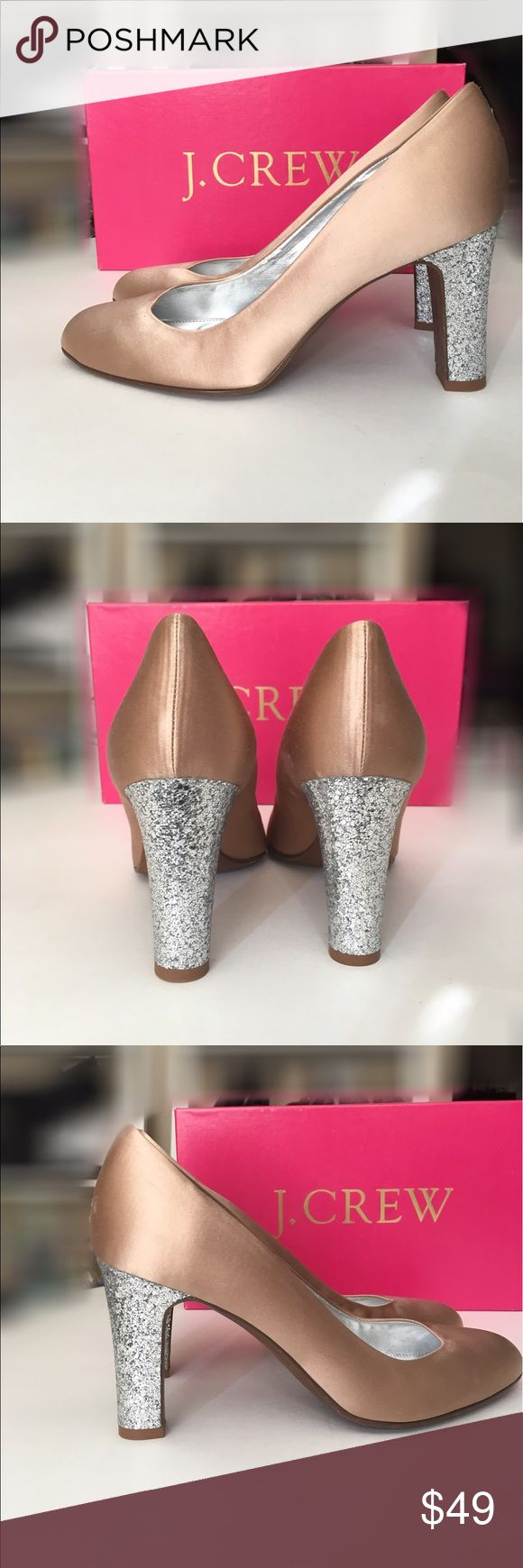 NWT Starla Satin Pumps in Sandalwood by JCrew 81/2 Starla Satin Pumps in Nude/Sandalwood- Gorgeous Beigy Pink neutral color by JCrew - Never been worn - Sparkly glitter heels - Excellent condition - Fast shipping J. Crew Shoes Heels