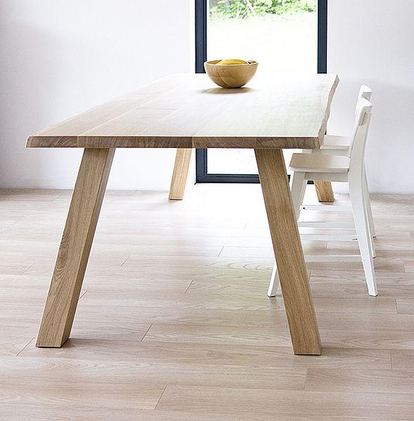 WILD custom table with natural shaped edge. Colour: Pure. - www.miloni.pl/en MILONI: wooden table, oak table, natural wood table, table design, furniture design, modern table