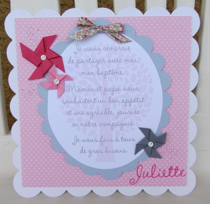 Faire part, carte, invitation, moulin à vent, arbre, noeud, ruban, Liberty Eloise rose