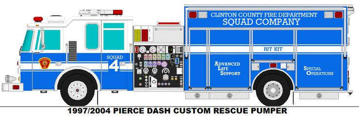 1997/2004 PIERCE DASH CUSTOM RESCUE PUMPER CLINTON COUNTY SQUAD 4