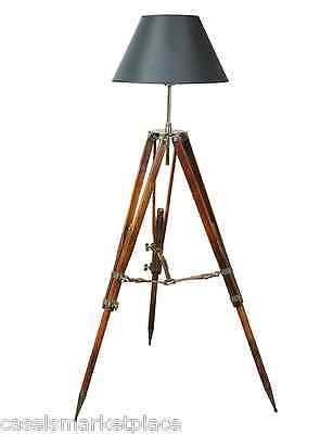 AUTHENTIC MODELS Campaign Tripod Electric Floor Lamp Black Shade Nautical Light | Collectibles, Lamps, Lighting, Lamps: Electric | eBay!