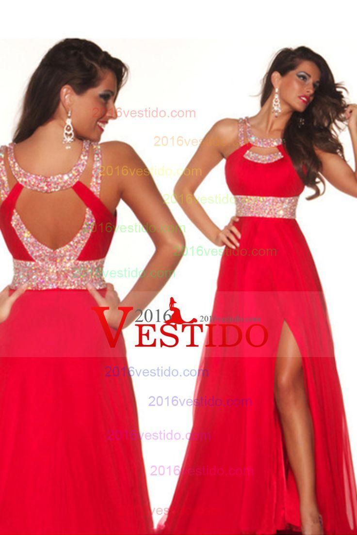 2015 Sexy vestidos de baile una línea de barrido cuchara / cepillo rojo espalda abierta ST007