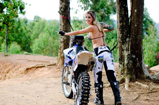 Metal Mulisha Maiden. Moto. Girl who rides dirt bikes. Simone from Brazil! Tattoos.
