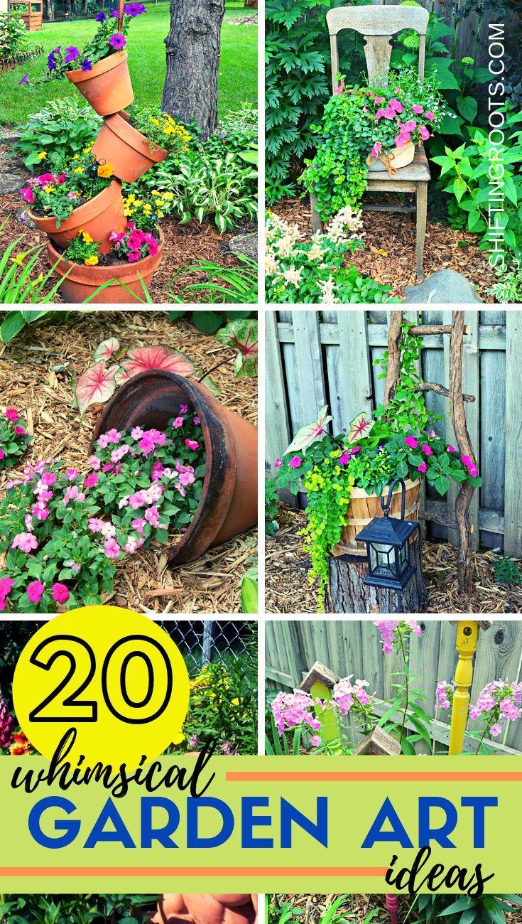 7 Garden Art Ideas in 77  Backyard flowers beds, Whimsical