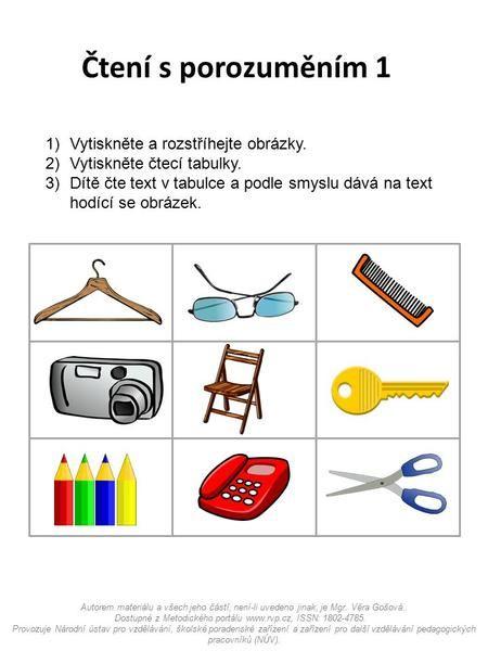 Čtení s porozuměním 1 Vytiskněte a rozstříhejte obrázky.>