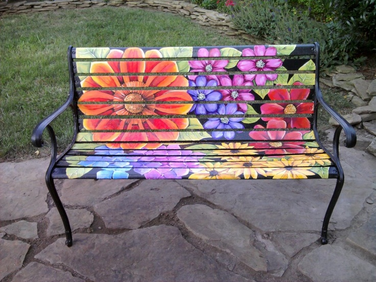 Painted Bench Ideas Part - 40: Patio Bench Painted By Amelie Woods.