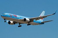 TUIfly Nordic Boeing 767-38A(ER)(WL) SE-RFR aircraft, on short finals to Greece Rhodes Diagoras International Airport. 19/08/2016.