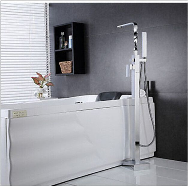 Solid Brass Floor Standing Tub Shower Faucet w/ Hand Shower Chrome Bathtub Mixer 015