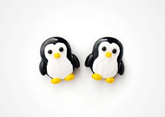 cute polymer clay charm   Cute: Penguin Earrings Studs - Cute Kawaii Animal Jewelry Polymer Clay ...
