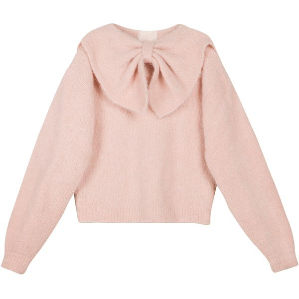 Hairy Knit Bow Jumper | Moda Operandi ($330) ❤ liked on Polyvore featuring tops, sweaters, knit jumper, bow sweater, pink jumper, pink knit sweater and loose sweaters