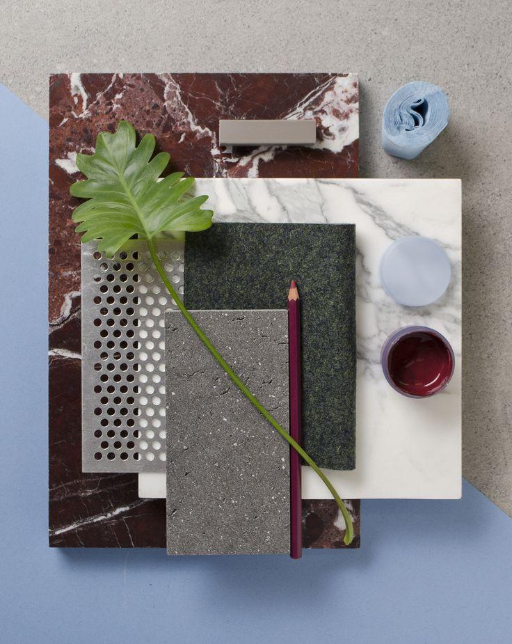 Weekly material mood 〰 Cherry Levanto Marble, Pastel blue and Metal mesh. #marble #redmarble #levanto #carrara #whitemarble #metal #metalmesh #wool #lavastone #wine #blue #palm #leaf #interior #architecture #design #material #mood #studiodavidthulstrup