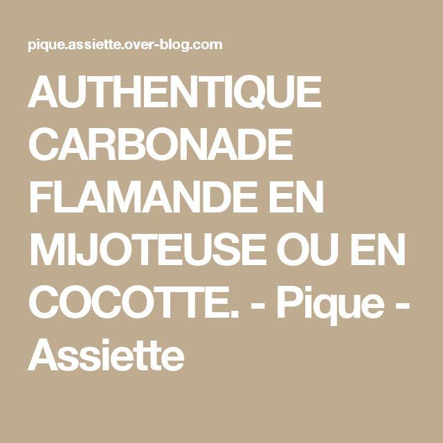 AUTHENTIQUE CARBONADE FLAMANDE EN MIJOTEUSE OU EN COCOTTE. - Pique - Assiette