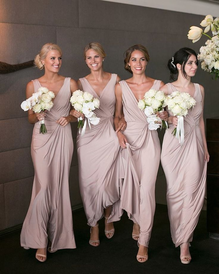 Gorgeous bridesmaids wear our BRIDGETTE dress in Rosy Latte | Also available in many more colours! See more here: http://www.whiterunway.com/bridgette-dress.html