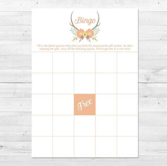 Baby Shower Bingo Floral Baby Shower Bingo Card Rustic by vocatio