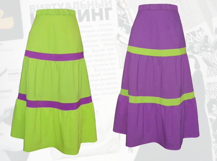 38$ Длинная летняя юбка для полных девушек с яркими полосками «Сочное лето» Артикул 724, р50-64