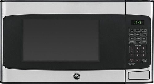 GE - 1.1 Cu. Ft. Mid-Size Microwave - Stainless Steel - Larger Front