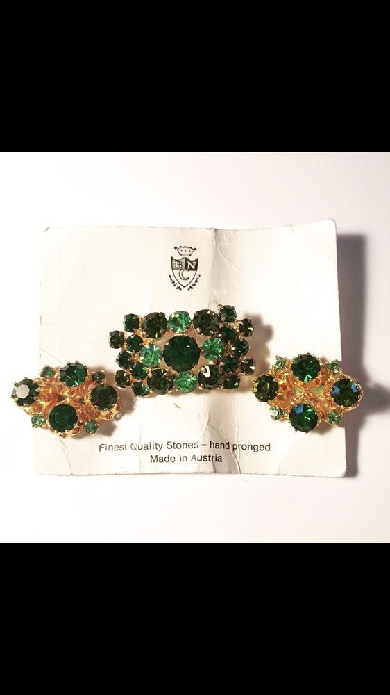 Vtg Green Rhinestone Austria Brooch and Earrings Set