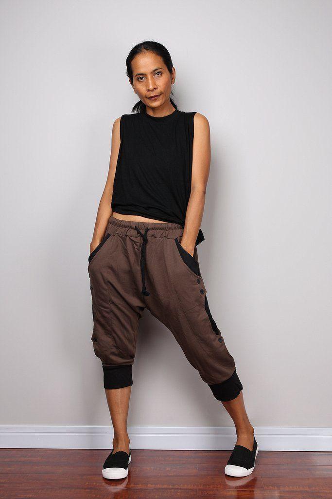 Jogger pants, low crotch pants, brown pants, lounge pants