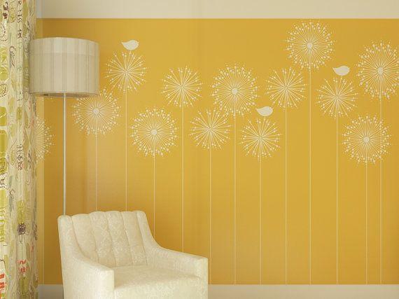 Stencil riutilizzabile parete per parete decorazione fiori con un uccello.
