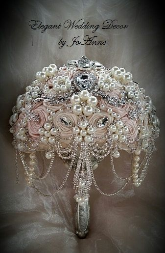 PALE PINK Jeweled Bouquet - Deposit for a Custom Blush Pink Brooch Bouquet, Jeweled Bouquet, Blush Pink and Ivory with Silver Bouquet, 465
