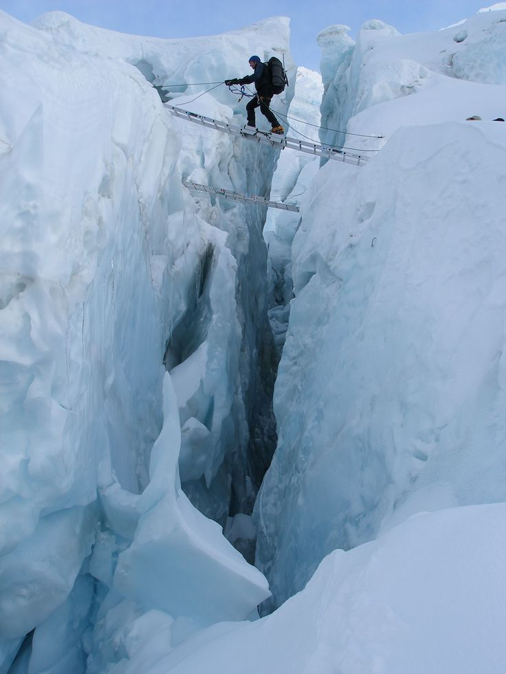 To the summit of Everest and back. Crossing a crevasse in the Khumbu Icefall.
