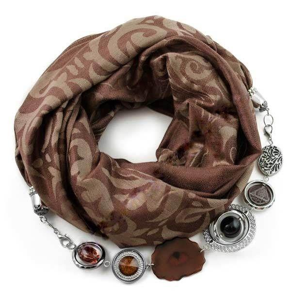 Кашемировый шарф-ожерелье (коричневый). Производство: Чехия Размеры: 70x175+50cм Состав: 60% кашемира, 40% вискоза Полный каталог шарфов: ШАРФ-ОЖЕРЕЛЬЕ.РФ