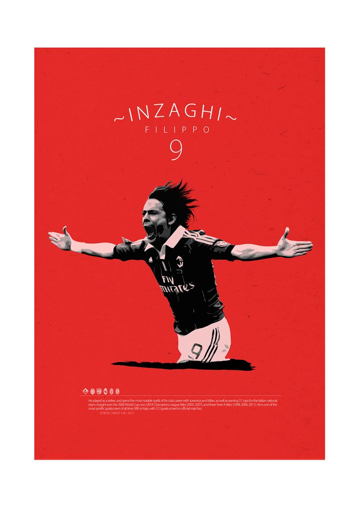 Soccer Legends Poster on Behance : Filippo Inzaghi