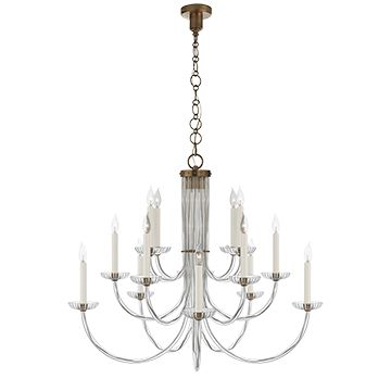 Wharton chandelier in clear acrylic and hand rubbed antique brass