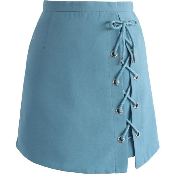 Chicwish Stylish Tie Bud Skirt in Blue ($42) ❤ liked on Polyvore featuring skirts, blue, blue skirt, tie-dye skirt, knee length lace skirt, lacy skirt and embellished skirts