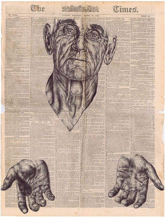 Mark Powell - man's head and hands, drawn on The Times - ballpoint pen art