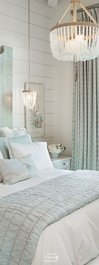 Shabby Chic nautical home decor. Love the rope light.