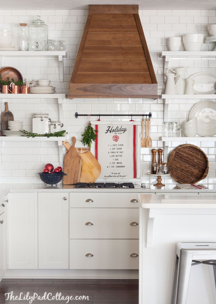 Christmas White Kitchen with wood hood