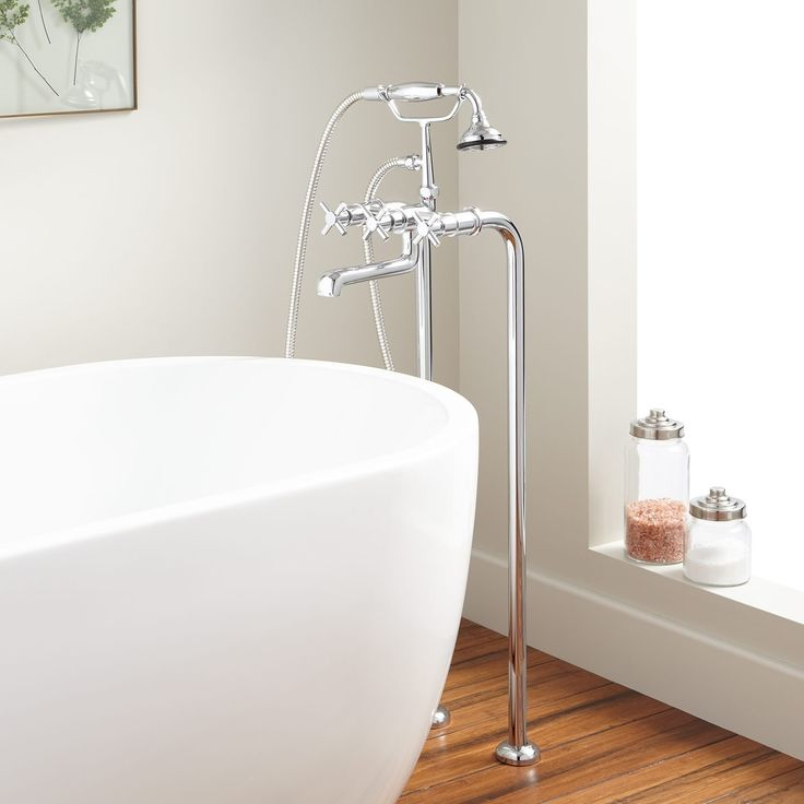 Contemporary+Freestanding+Tub+Faucet+and+Supplies+-+Cross+Handles