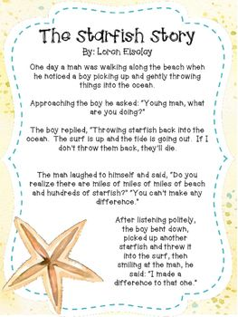 The Starfish Story is a great product for back to school. This poem adapted from Loren Eiseley's work, is a perfect way to spread inspiration and motivation to your colleagues, staff or students in your class. Copies can be made in color or black and white and printed on thicker