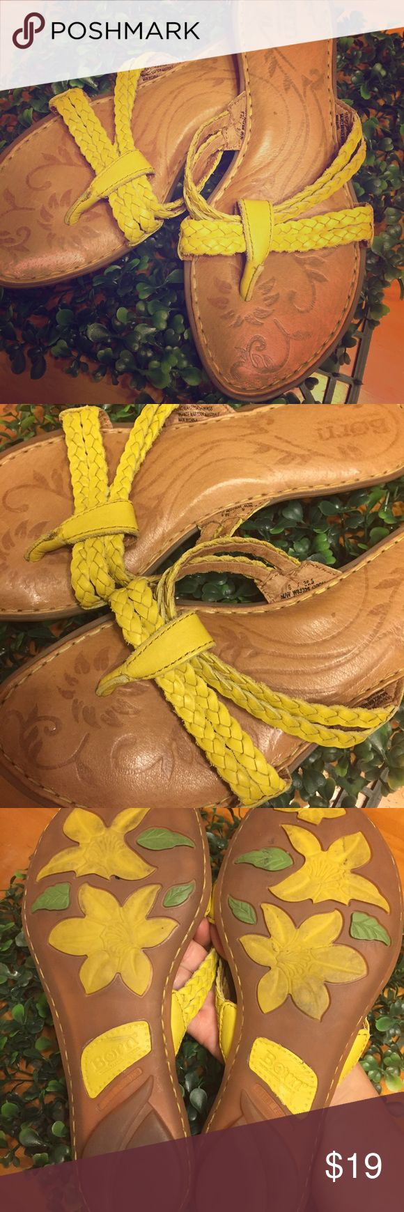 Born yellow leather braided sandals Classy Born yellow braided leather strap slip on sandals, size 6 in gently used condition. Born Shoes Sandals