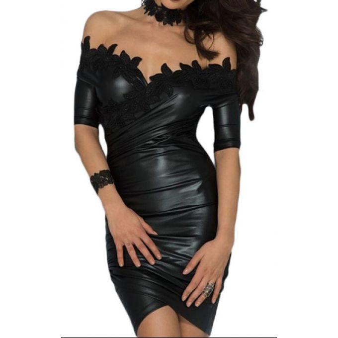 Robe courte de soirée asymétrique effet cuir noir  - bestyle29.com
