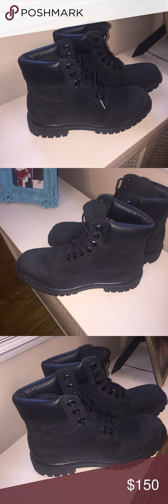 Black suede waterproof timberlands Just like new only used once size 7.5 Men Timberland Shoes Winter & Rain Boots