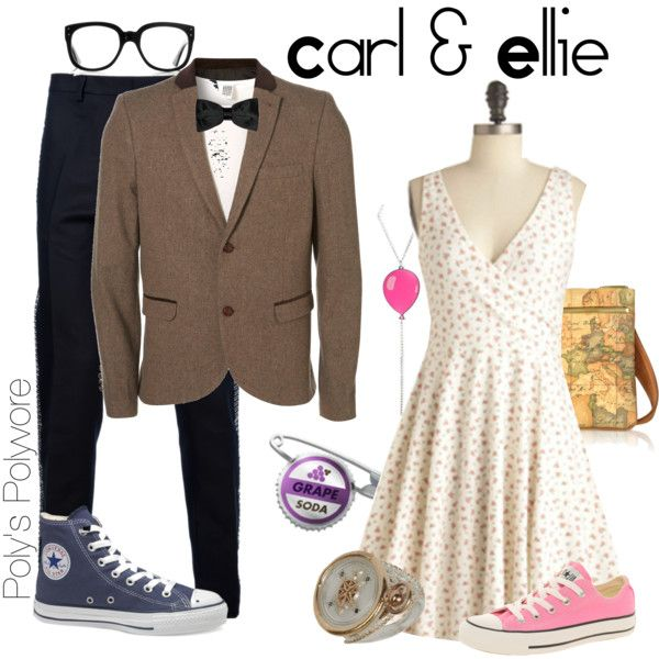 Carl and Ellie, rehearsal dinner wear or on the way to the honeymoon, or at disneland.