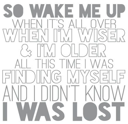 """Wake me up"" by AVICII and Aloe Blacc ...this song makes more sense then most pop songs out there"