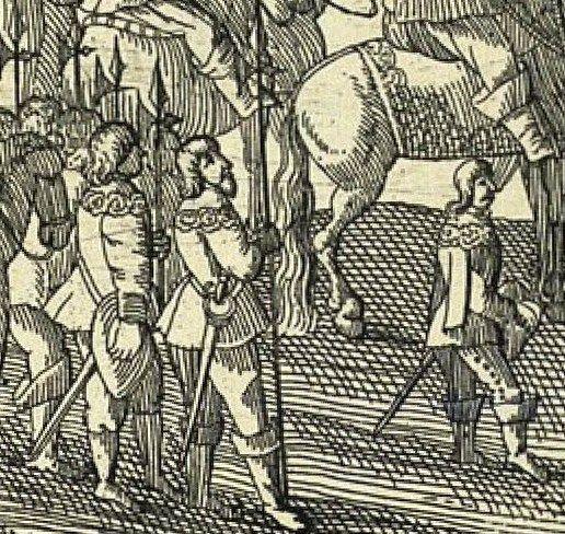 Drabanci ubrani według mody zachodniej z sztychu kapitulacja Szeina
