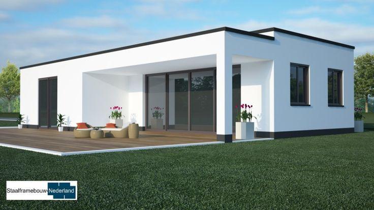 B8 gelijkvloerse bungalow met overdekt terras alles slaapkamer en badkamer beneden staalframebouw moderne bouw