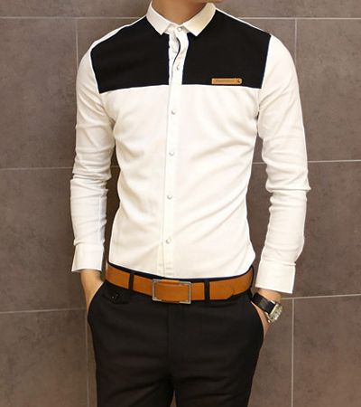 Slimming Shirt Collar Trendy Color Block Splicing Labeling Long Sleeve Men's Cotton Shirt