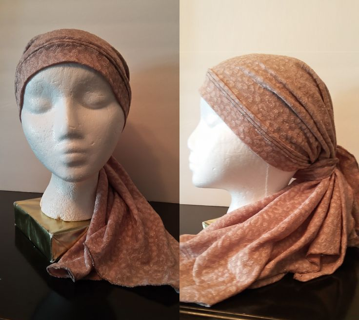 Chic Light Brown Long Headcarf  This chic caramel headwear is a tasteful look for any occasion. The polyester fabric has just a bit of sparkle and can be worn for a casual event or a more formal one. The neutral colour will accentuate any colour in your outfit. It is medium weight fabric so you can wear it indoor or outdoor. The lining is soft to give it a comfortable fit and help keep it in place. Wear the ties on the side instead of the back to give it a different look.