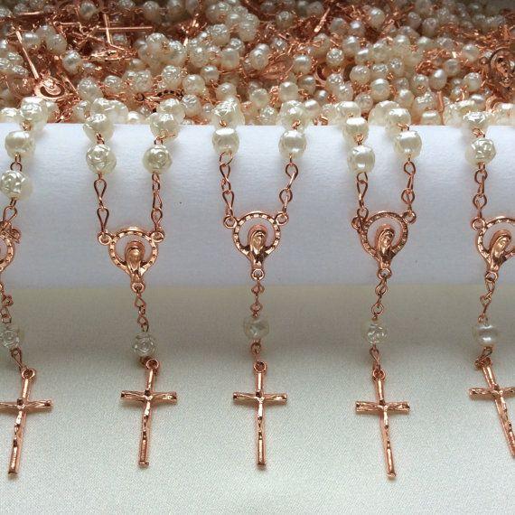 25 pcs Pearl Rose Gold First communion favors Recuerditos Bautizo / Mini Rosary Baptism Favors 25 pcs