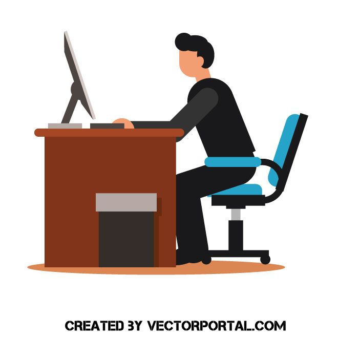 Fine Office Worker Front View Vector Freebie Illustration Alphanode Cool Chair Designs And Ideas Alphanodeonline