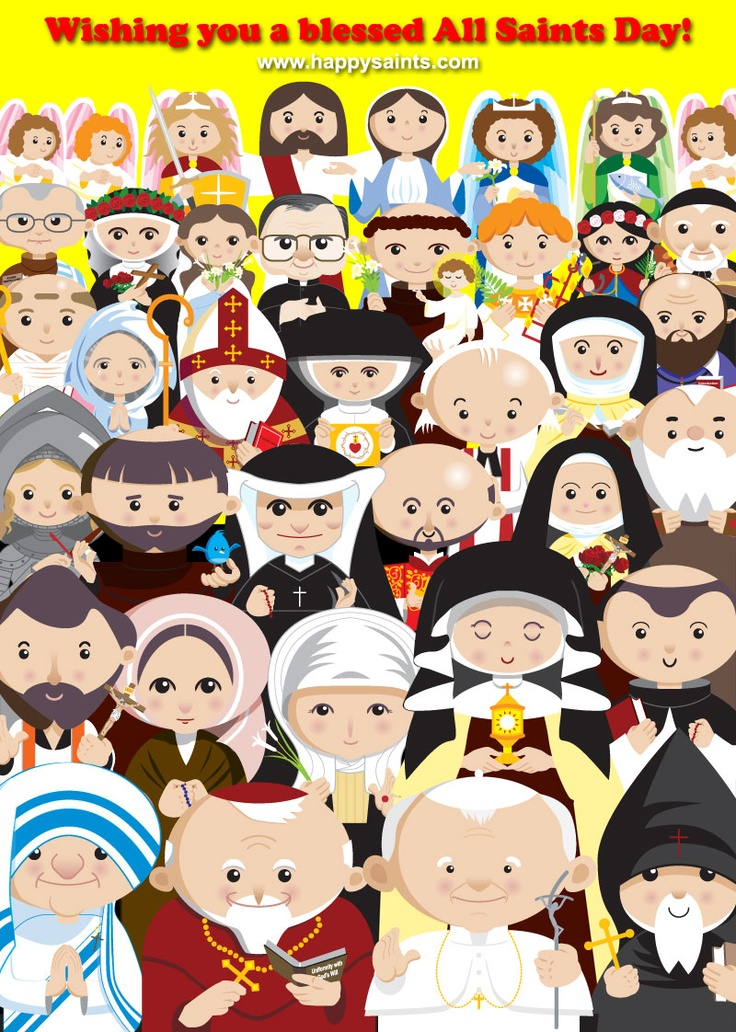 Happy all Saints Day!! (click the link to see the names of all the saints pictured in this adorable drawing!) Site has e books to purchase.